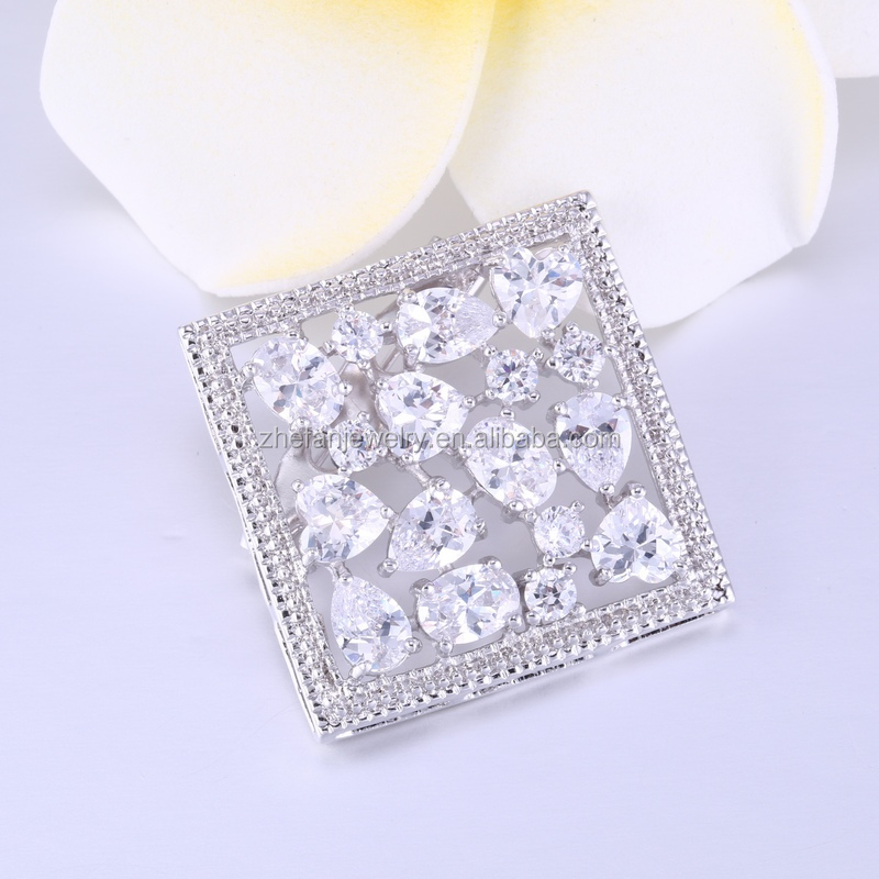 Pop square shape brooth,white brooch with crystal cheap price