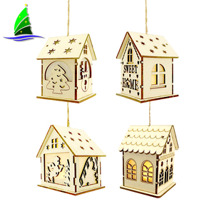 Store LED Light Wood House Decorative, Fashionclubs Xmas Tree Hanging Pendant Unpainted Wooden Lighted Cabin House Ornaments