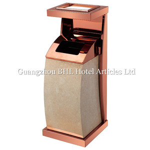 wholesale hotel lobbies and lounges rose gold elegant metal ash bucket metal cigarette ash bins indoor rubbish bins GPX387F