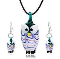 Wholesale women american korea classic simple leather rope mulano glass retro owl earring and necklace jewellery sets