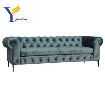 Elegan Modern Beludru Chesterfield Sofa