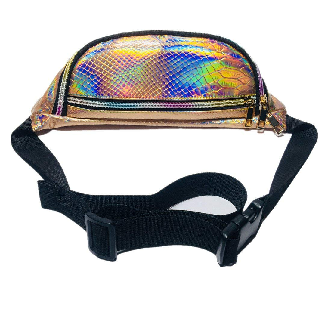 Andear Bumbag Shiny Holographic Fanny Pack Sports Hiking Running Belt Waist Bag
