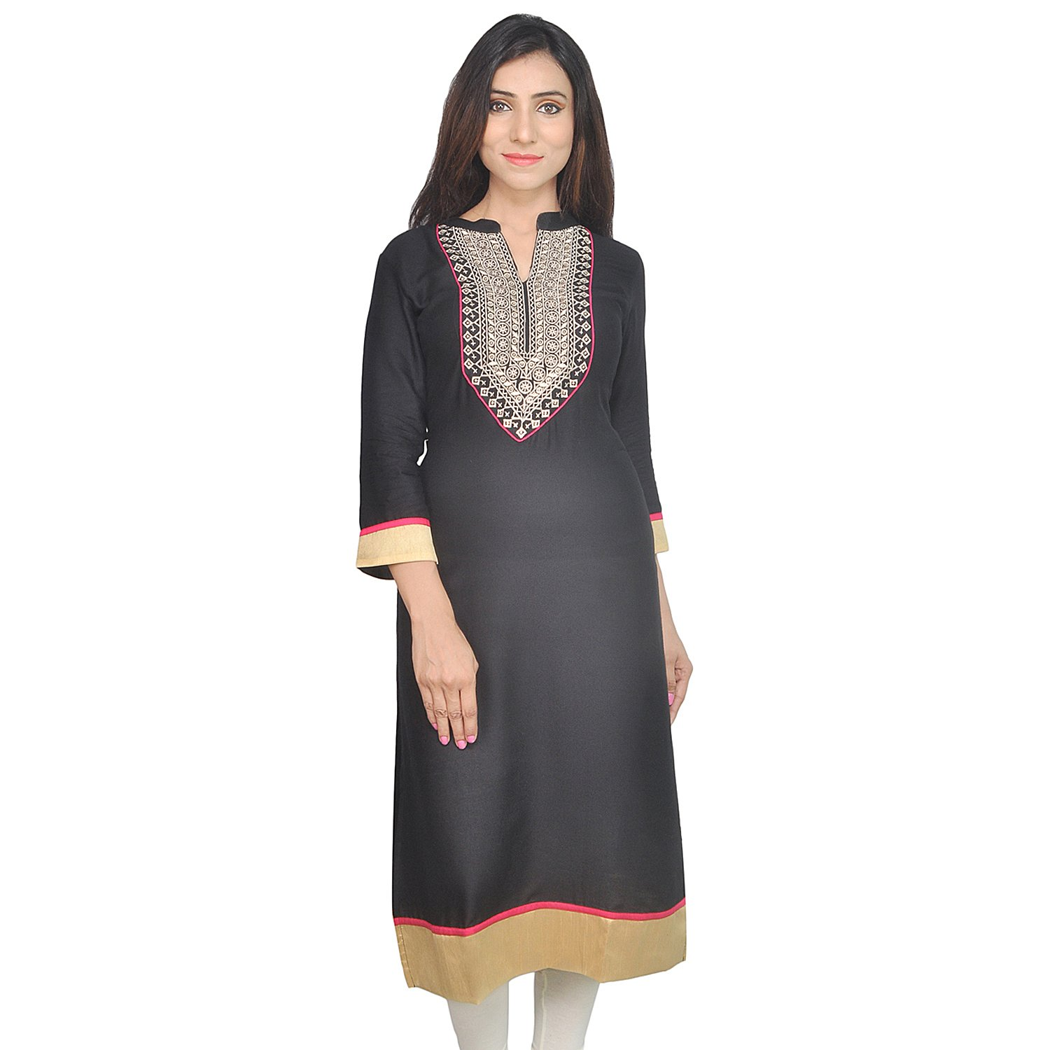 2d0220910e Get Quotations · Chichi Women 3/4 Sleeve Tunic Top Embroidered Kurti Blouse  Black