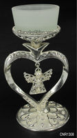 67*110mm Silver plated heart with angel glass candle holder