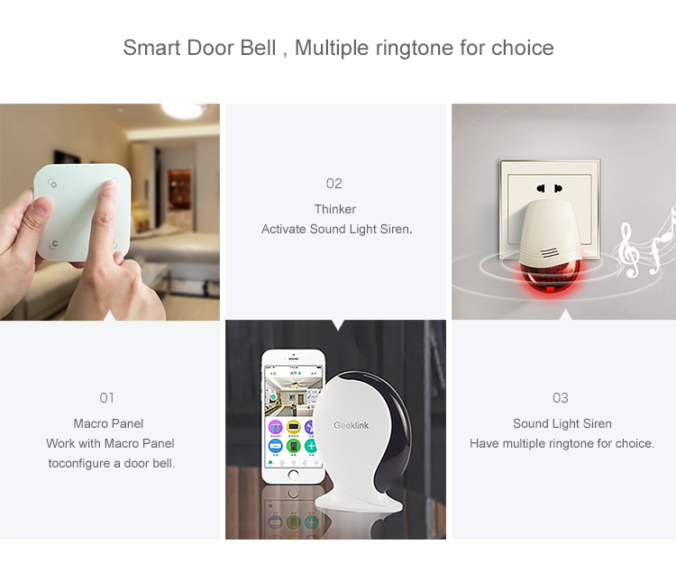 Geeklink smart wifi home door security emergency bell alarm system siren