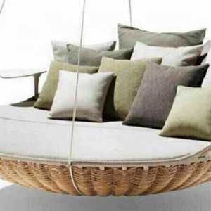 outdoor garden patio KD round sofa bed rattan cane furniture garden sofa latest design rattan furniture sun loungers