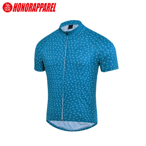 Summer Custom Bike Club Apparel Blue and White Geometric Pattern Short Sleeve Cycling Jersey