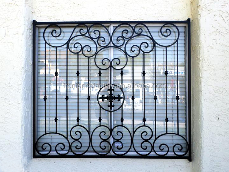 2016 decorative iron window grill design aluminium windows for Window bars design