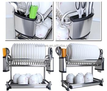 Attirant Stainless Steel Kitchen Dish Racks/2 Tier Dish Drying Racks /Hanging Dish  Racks