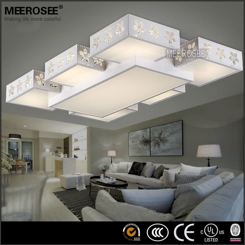 Pas cher gros rectangle led plafonnier moderne fleur impression lumi re pour - Plafonnier salon pas cher ...