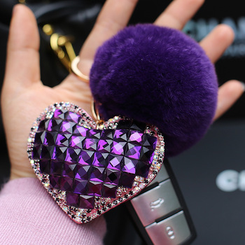 2018 explosion models crystal love heart key chain rabbit fur pompom ball heart shaped diamond keychain