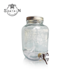 Glass beverage dispenser jar with Iron frame and tap