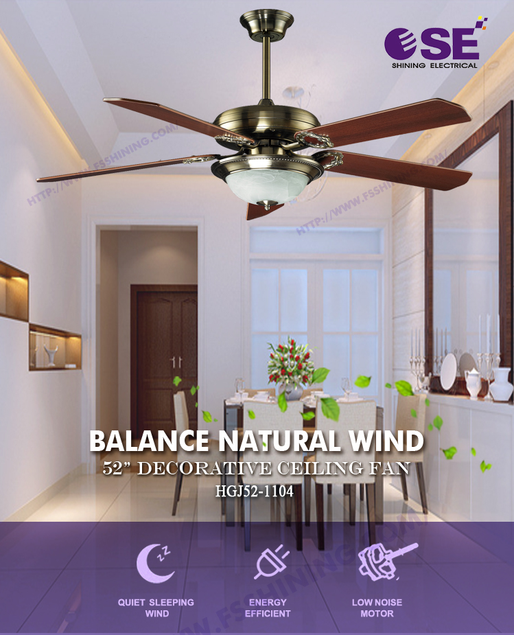 Electronic china wooden decorative ceiling fan with single chandelier
