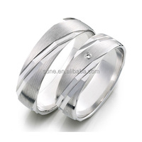 Stainless Steel Couple Ring CZ Cubic Zirconia Promise Engagement Wedding Band Silver