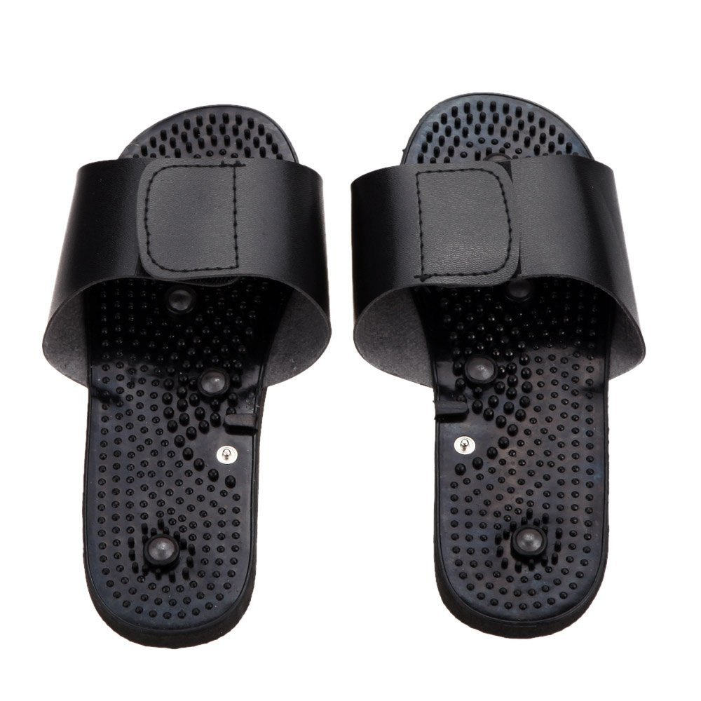 Black Electrode Rubber Relaxing Massager Slippers Suit for Tens Acupuncture Therapy Massager Physiotherapy Body Foot Massage