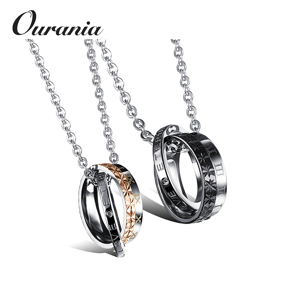 Amazon Supplier Couple Unique Stainless Steel Necklace With Zirconia