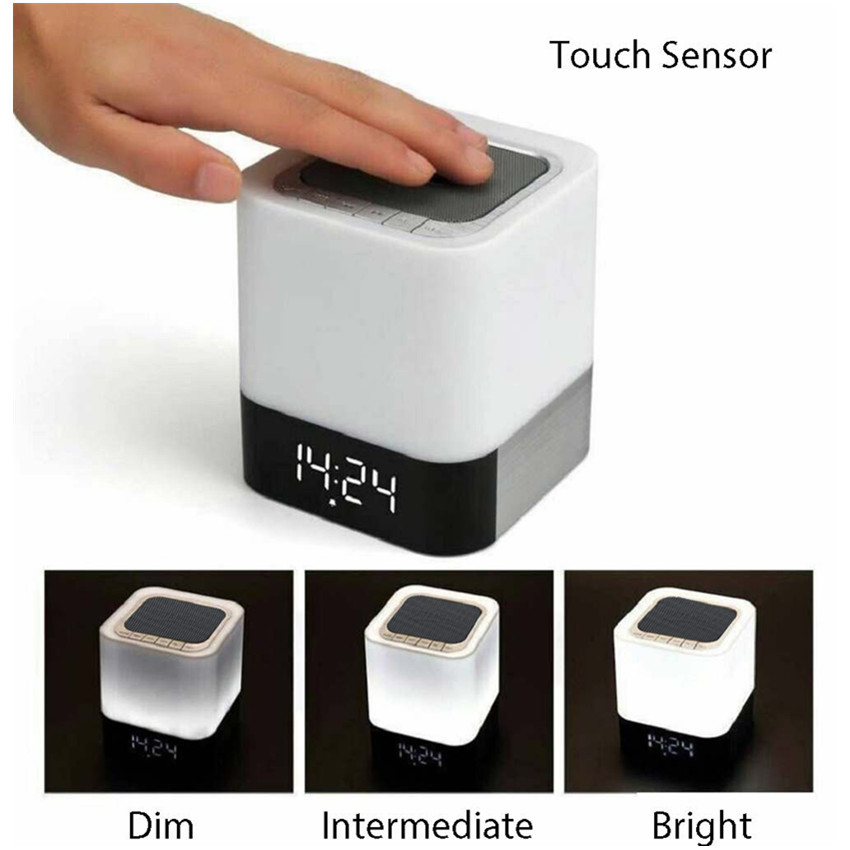 Amazon Top Seller 2018 Led Light Clock Portable Mini Metal Bluetooth Speaker Wireless Karaoke Microphone Home Theater System OEM