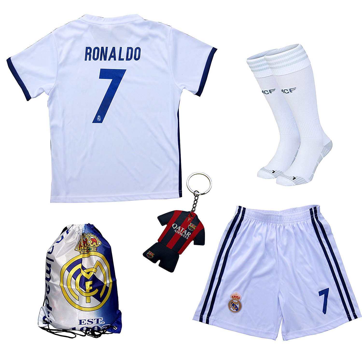 9bb5fe0522e Get Quotations · 2017/2018 Real Madrid Cristiano Ronaldo #7 Home Football  Soccer Kids Jersey & Short