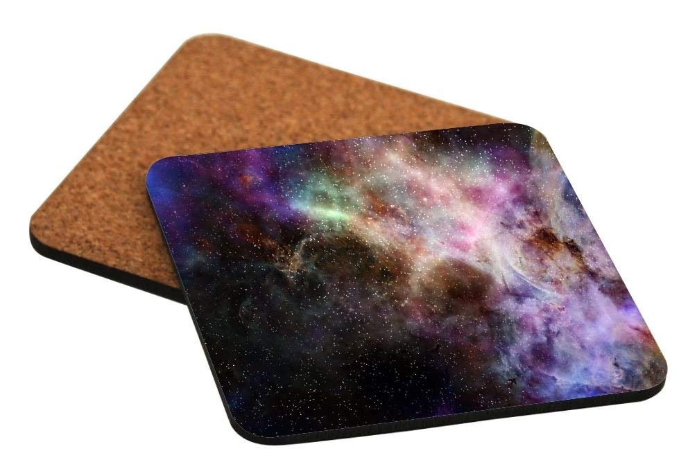 Rikki Knight Galaxy Nebula Cloud Gas Sky Starfield Green Purple Colors Design Cork Backed Hard Square Beer Coasters, 4-Inch, Brown, 2-Pack