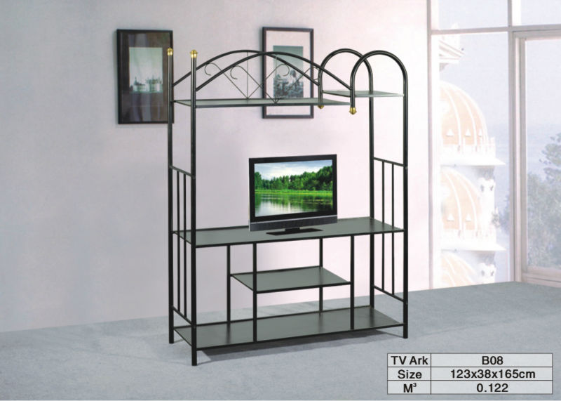 Modern Design Metal Tv Stand Silver Slim Pipe Wood Stands