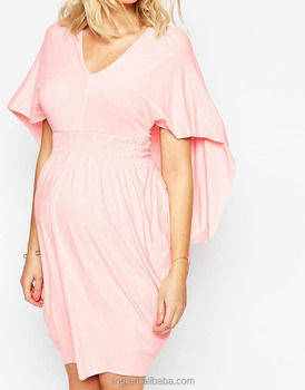 Wholesale Pink Drape Maternity Bodycon Dresses for Office