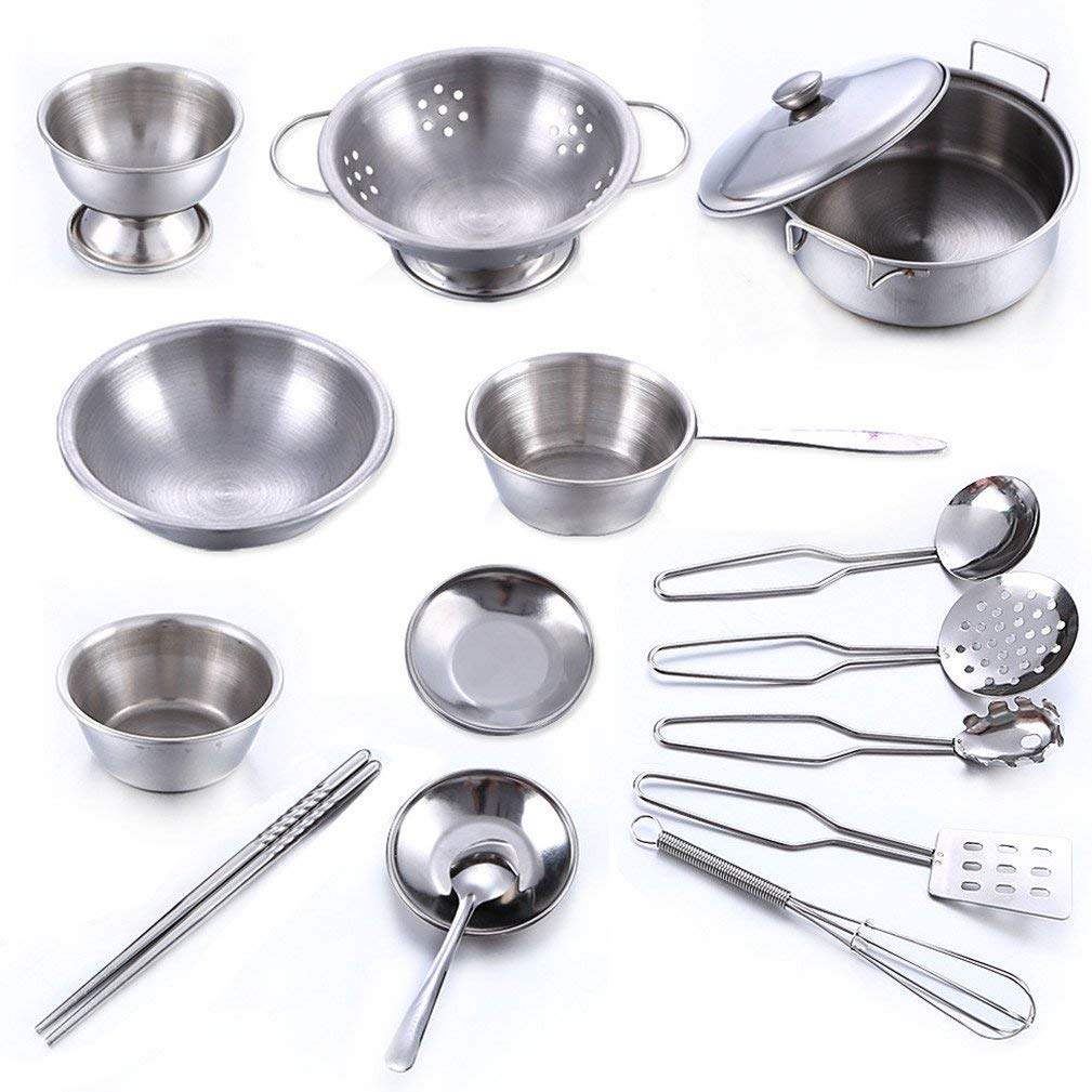 16 Pcs Kitchen Pretend Play Kids Toyset Cookware Set Toy Stainless Steel Pots & Pans Bundle for Gift - Includes Utensils & Accessories
