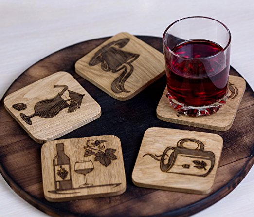 Lovely and fancy square wood carved cup mats 5