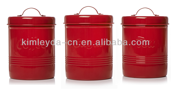 Wilko Red Storage Jars Tea Sugar Coffee Metal And Canisters Product On