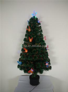 120 cm kleurrijke vlinder decoratieve led kerstboom verlichting glasvezel kerstboom