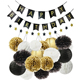 21 pcs happy birthday Mixed Gold Black White Color Paper Round Lanterns Paper Pom Poms Party Decoration Paper Honeycomb Ball