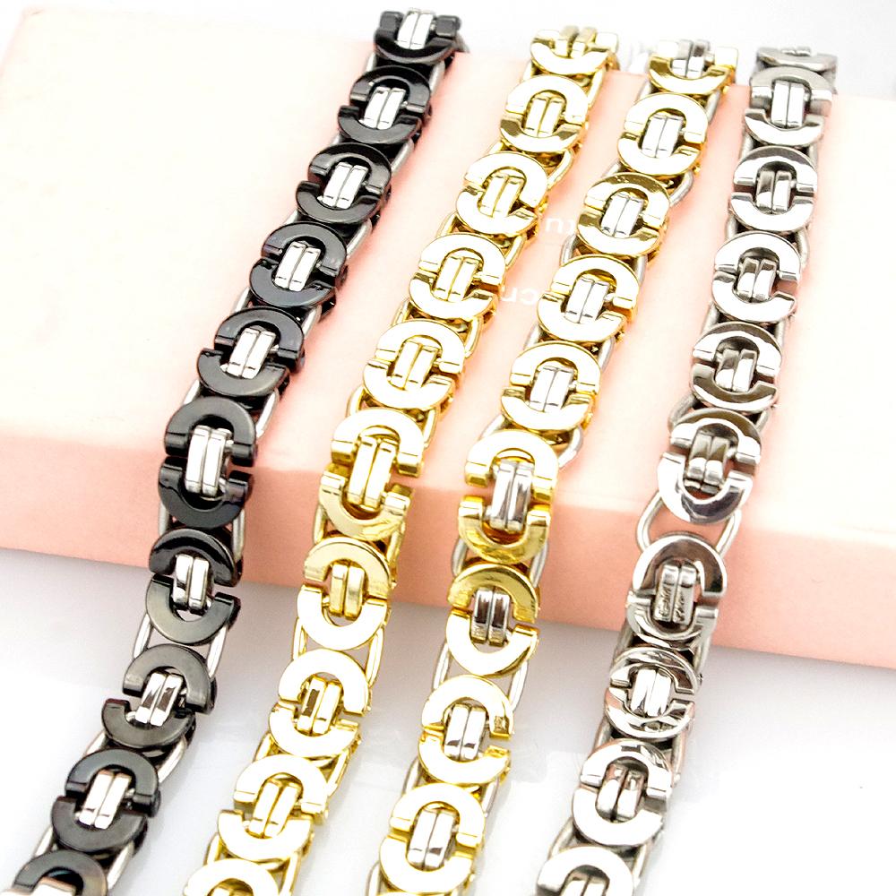 Fashion Jewelry Flat Byzantine Chain Link Bracelet For MEN WOMEN Stainless  steel 18K Gold Plated Jewellery Silver Biker HF007C a4ff84d4f3