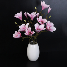 High Quality 2 Branches Real Touch Light Purple Magnolia