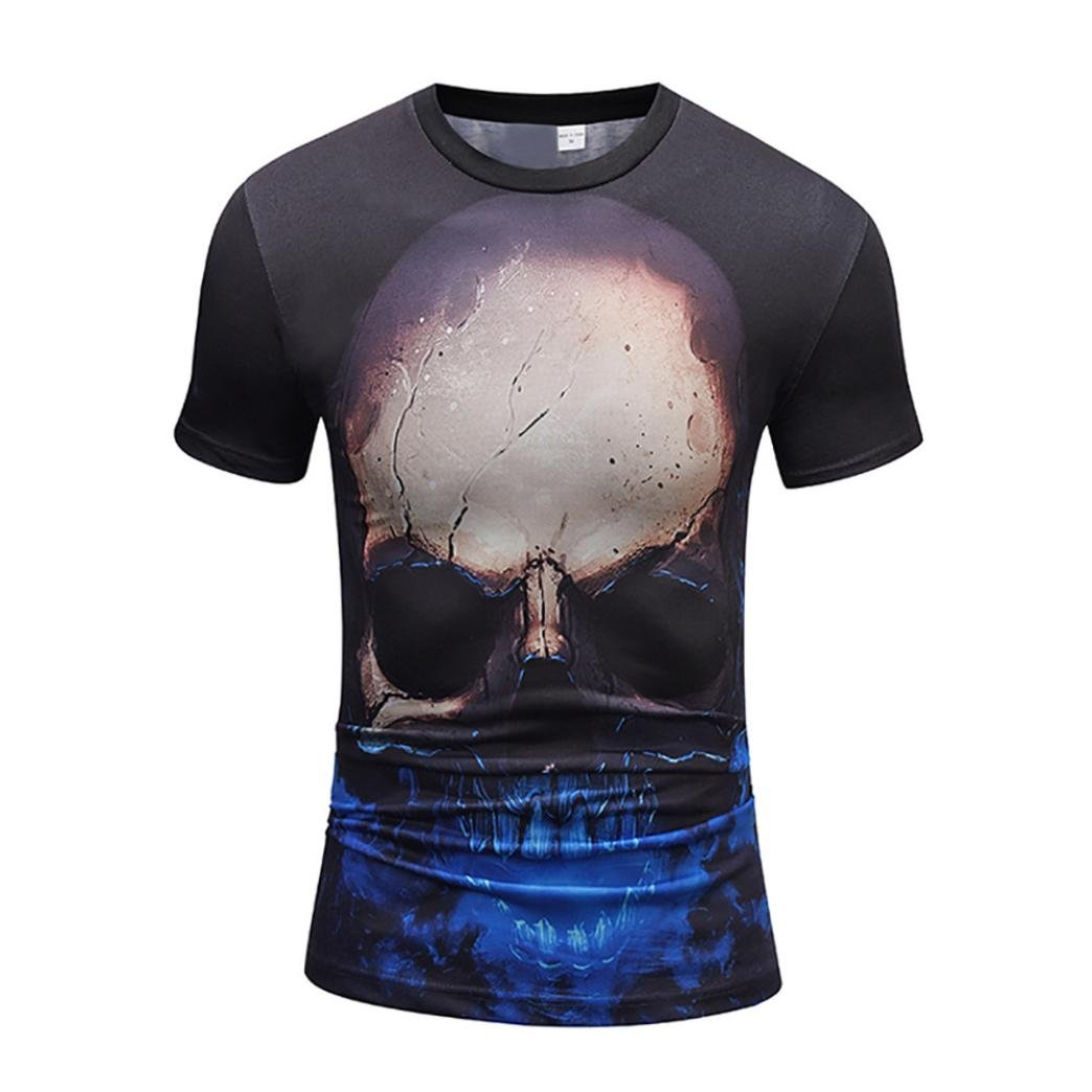 Elogoog Tee Shirts for Mens 2018, Clearance Print 3D Skull Tops Casual Short Sleeve Round Neck Tees