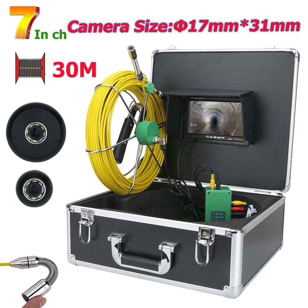 7inch 17mm Snake Video Endoscope Camera 20-50m Cable Pipe Drain Sewer Well Wall Underwater Inspection Camera System Monitor