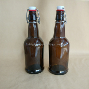 16 oz Amber Glass Beer Bottles with Flip top Caps for Home Brewing with Flip Caps