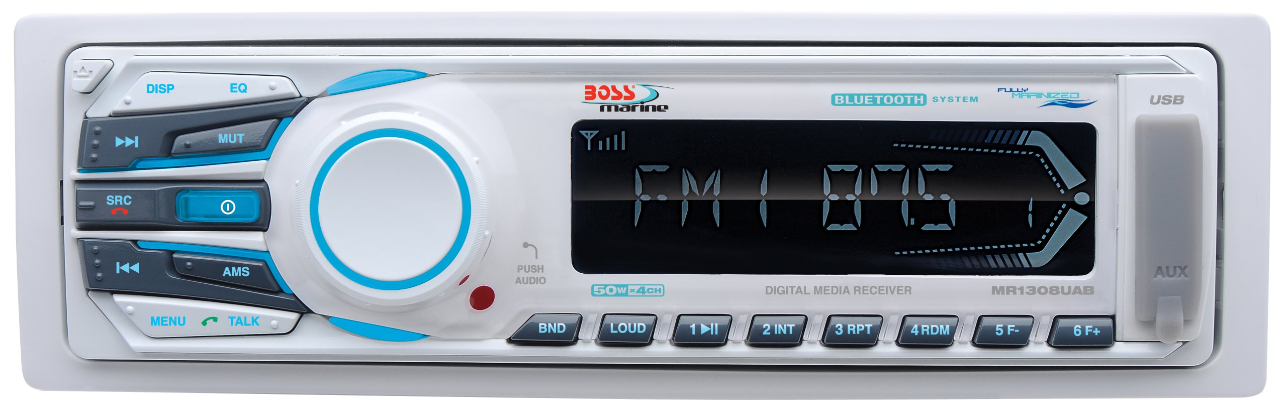 BOSS Audio MR1308UAB Single Din, Bluetooth, MP3 / WMA/USB / SD AM/FM Weather-Proof Marine Stereo, (No CD/DVD), Detachable Front Panel, Wireless Remote