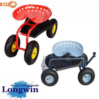 Rolling Garden Work Seat,garden Cart ,garden Tractor Seat Cart