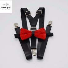 Customized size pu new style suspender set 대 한 성인 와 3 clips metal clips design