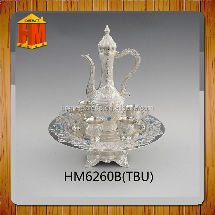 hot sell tea cup set with tea pot and tray and stand basefor Saudi Arabia and Pilgrimage Muslim favor/cawa cup/ ramadan gift