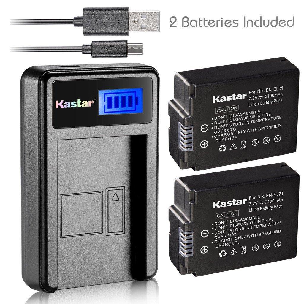 Kastar Battery (X2) & LCD Slim USB Charger for Nikon EN-EL21, ENEL21, MH-28 and Nikon 1 V2 Camera