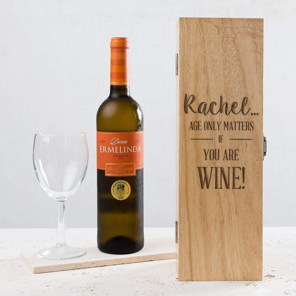 """Personalized Birthday Gift Wooden Wine Box - 50th Birthday Gifts for Men or Women -""""AGE ONLY MATTERS IF YOU'RE WINE"""" - 30th 40th 60th Birthday Present Idea (WINE BOTTLE NOT INCLUDED)"""
