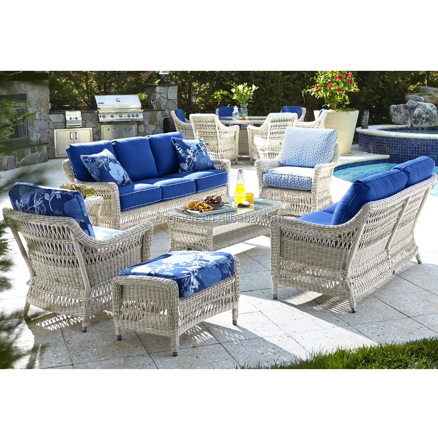 Old Fashioned Exotic Designed Garden Entertaining Wicker Furniture Outdoor Colonial Style Sofas
