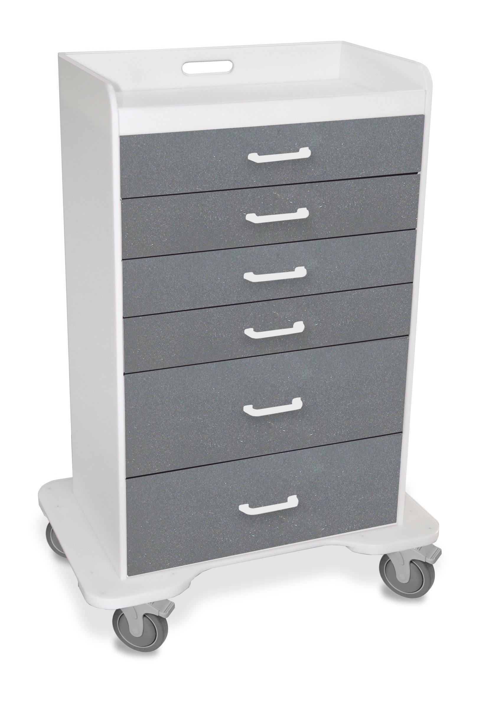 "TrippNT 51079 Polyethylene Procedure Cart, Locking, 31"" Width x 48"" Height x 20"" Depth, 6 Drawers, Silver Metallic"