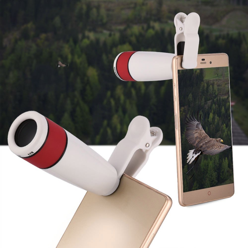 fosa Monocular Telescope, 12X Long Cell Phone Camera Lens Kit Focal Monocular Telescope HD Camera Lens with Phone Clip(White)