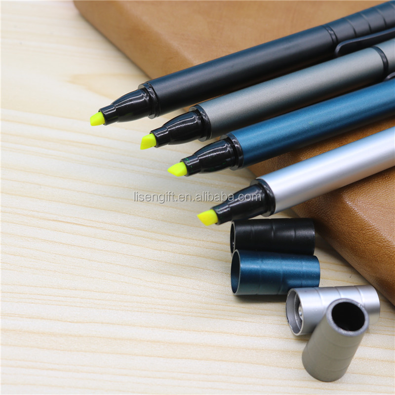 Custom Plastic Double Sided plastic Pen Highlighters combo