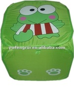 square green cartoon fog animal fold up and collapsible willow laundry basket hamper with lid