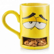 Personalizzata in ceramica monster faccia tè al <span class=keywords><strong>latte</strong></span> dunk mug con cookie cup holder