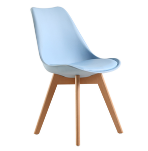 Free Sample Solid Wood Room Replacement Seat Plastic Wooden Dining Chair With Wooden Leg