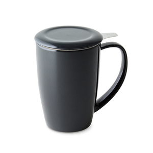 Black ceramic tea mug with stainless steel infuser