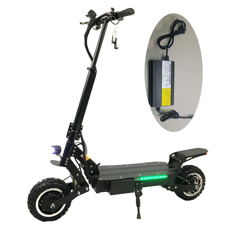 CE 60V 5600W power dual motor Kick electric scooter with fast charger long range Max speed 85kms/h fast speed electric scooter, Black
